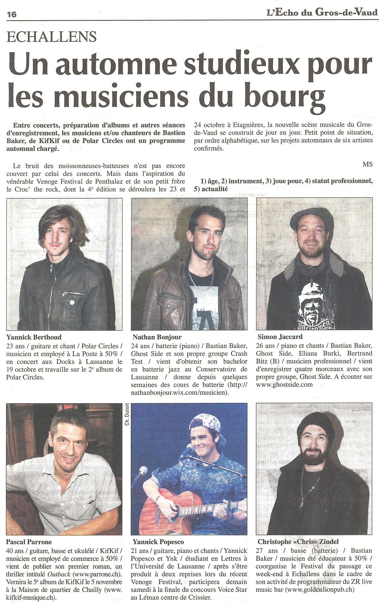 L'Echo du Gros-de-Vaud - Un automne studieux pour les musiciens du Bourg - 02.10.2015