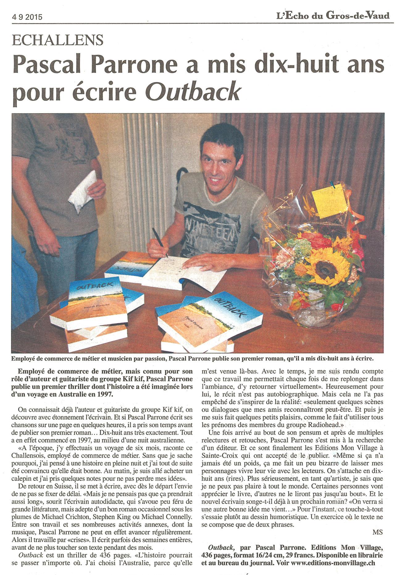 L'Echo du Gros-de-Vaud - 18 ans pour écrire Outback - 04.09.2015