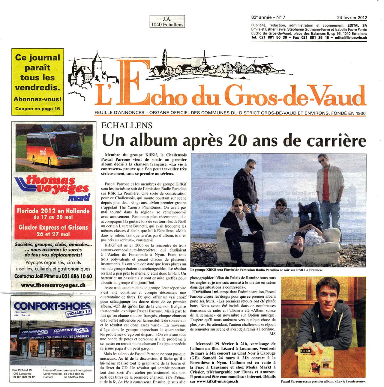 L'Echo du Gros de Vaud - Un album après 20 ans de carrière - 24.02.2012