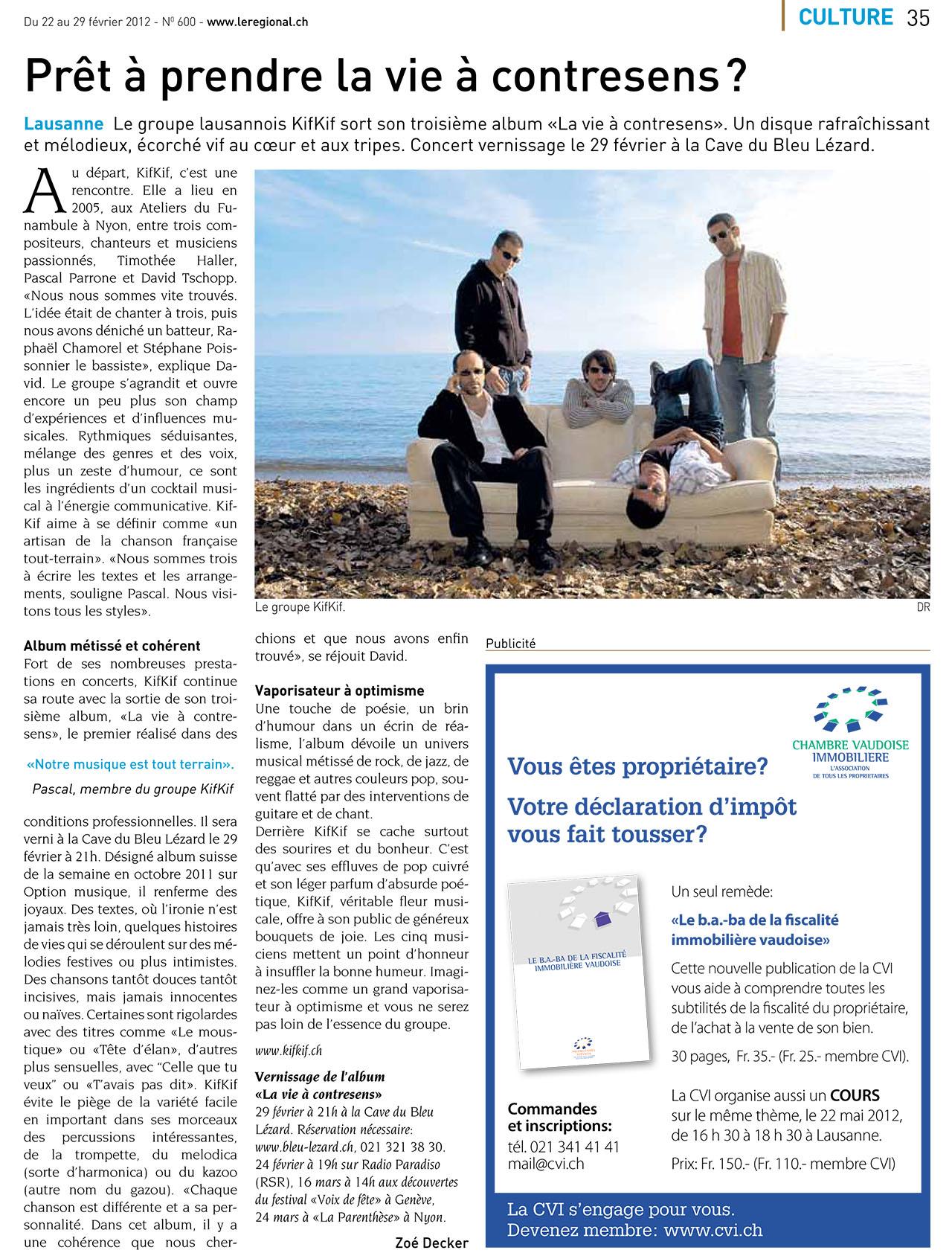Le Régional - Prêt à prendre la vie à contresens - 22.02.2012 (KIFKIF)