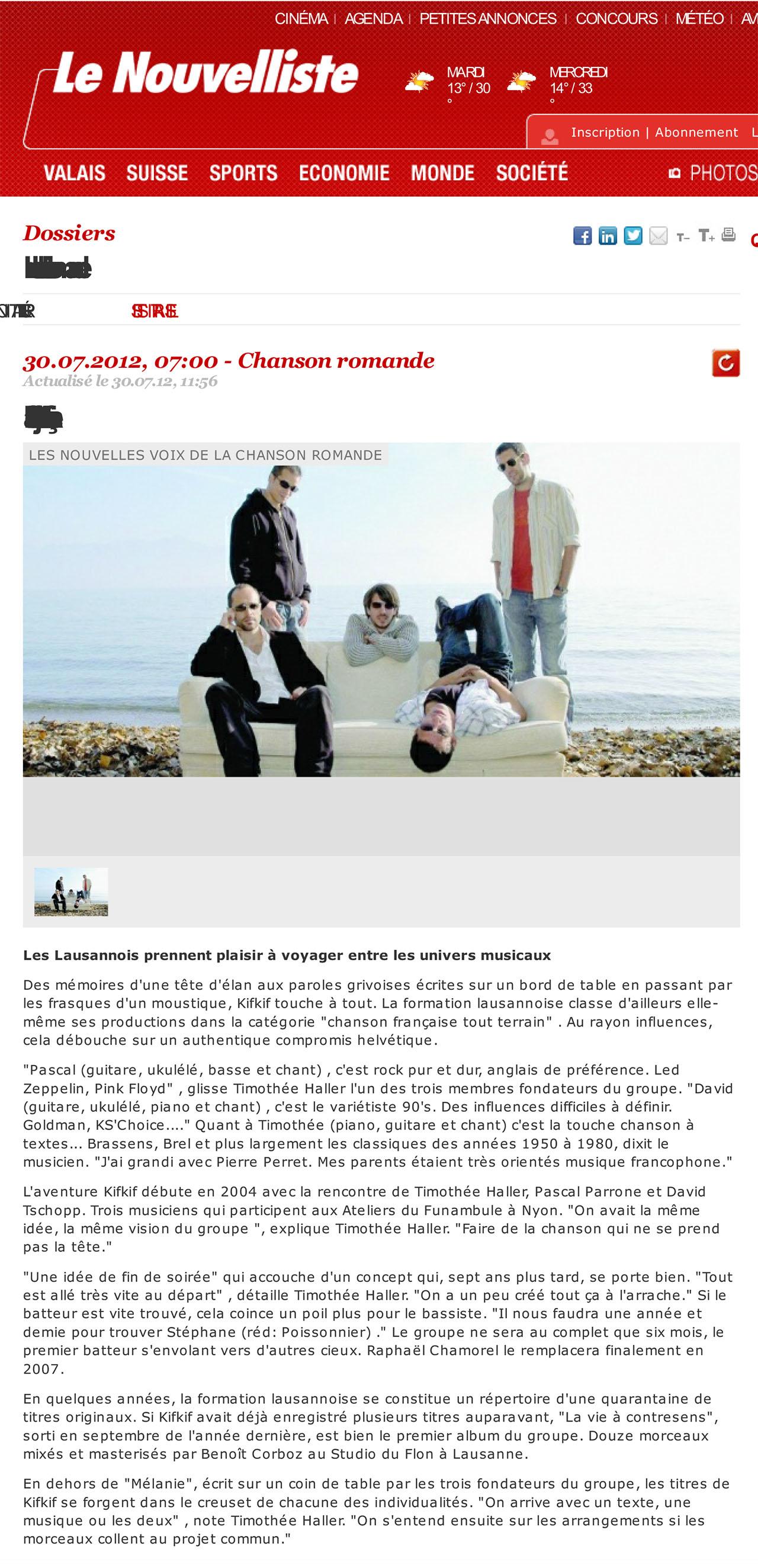 Le Nouvelliste - Dossier les artistes - 30.07.2012 (KIFKIF)